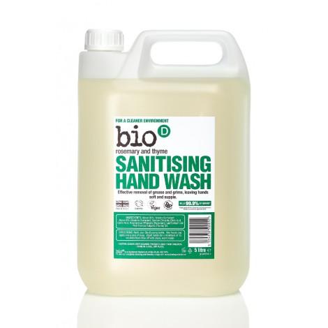 Bio-D Tekuté mýdlo na ruce s dezinfekčním účinkem s vůní rozmarýny a tymiánu - Náhradní kanystr (5 L)